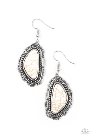 Paparazzi Accessories - Santa Fe Soul - White Earring - JMJ Jewelry Collection