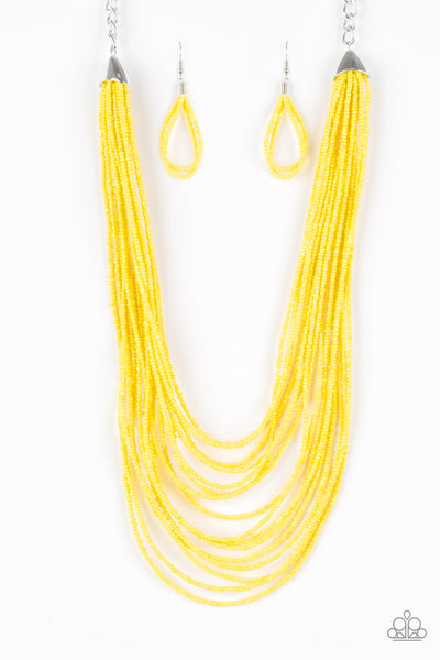 Paparazzi Accessories - Peacefully Pacific - Yellow Necklace Set - JMJ Jewelry Collection