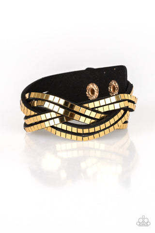 Paparazzi Accessories - Looking For Trouble - Black/Gold Wrap Bracelet - JMJ Jewelry Collection