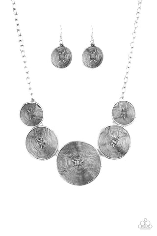 Paparazzi Accessories - Deserves A Medal - Silver Necklace Set - JMJ Jewelry Collection