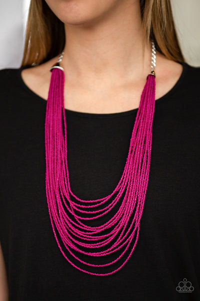 Paparazzi Accessories - Peacefully Pacific - Pink Necklace Set - JMJ Jewelry Collection