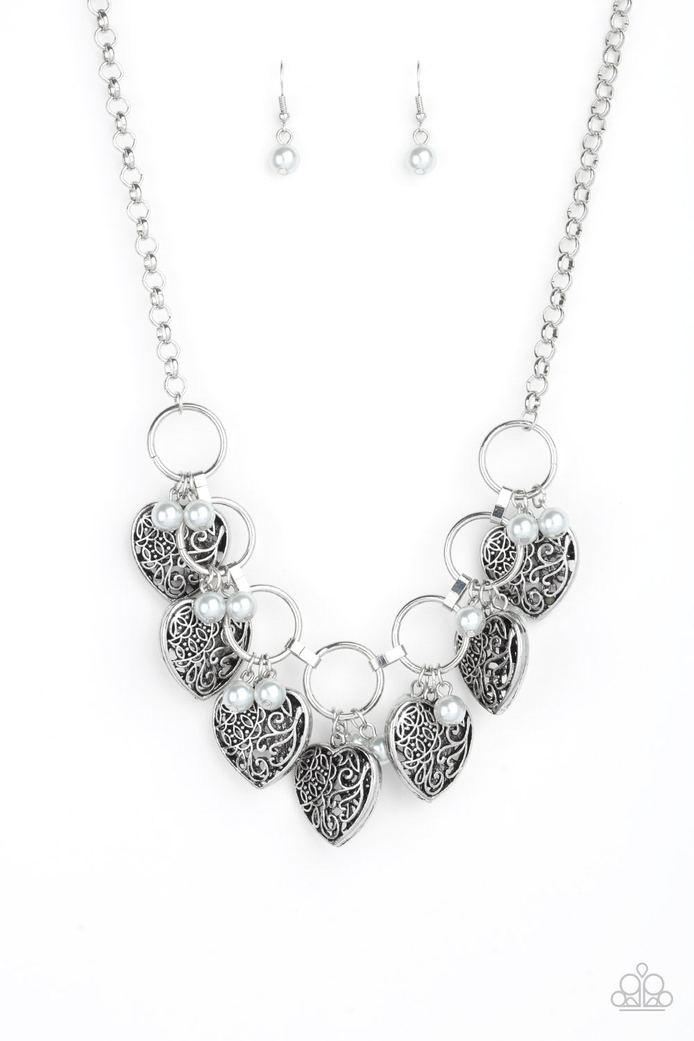 Paparazzi Accessories - Very Valentine - Silver Necklace Set - JMJ Jewelry Collection