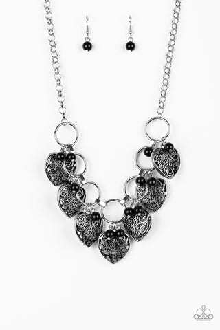 Paparazzi Accessories - Very Valentine - Black Necklace Set - JMJ Jewelry Collection