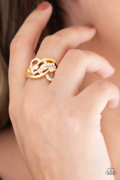 Paparazzi Accessories - Have The World On A HEART-String - Gold Ring - JMJ Jewelry Collection