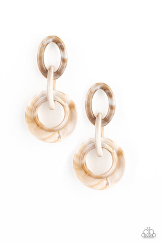 Paparazzi Accessories - Havana HAUTE Spot - Brown Earrings - JMJ Jewelry Collection