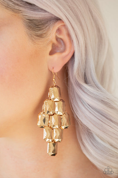 Paparazzi Accessories - Contemporary Catwalk - Gold Earrings - JMJ Jewelry Collection