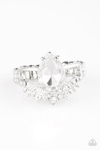 Paparazzi Accessories - If The Crown Fits - White Ring - JMJ Jewelry Collection