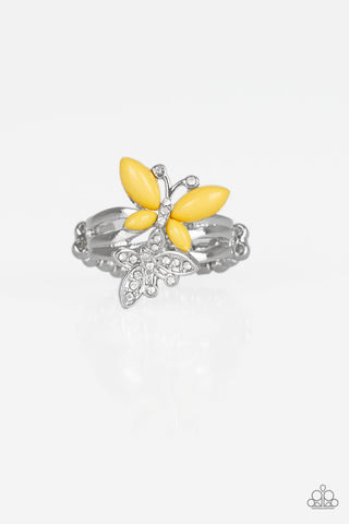 Paparazzi Accessories - Flutter Flirt - Yellow Ring