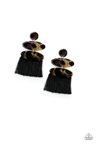 Paparazzi Accessories - No One Likes A Cheetah - Black Earrings - JMJ Jewelry Collection