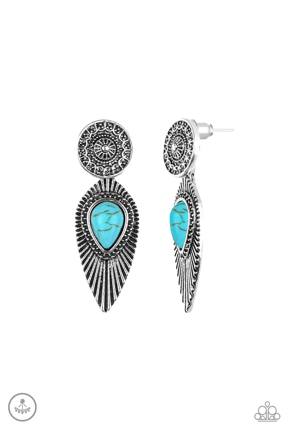Paparazzi Accessories - Fly Into The Sun - Blue Earrings - JMJ Jewelry Collection