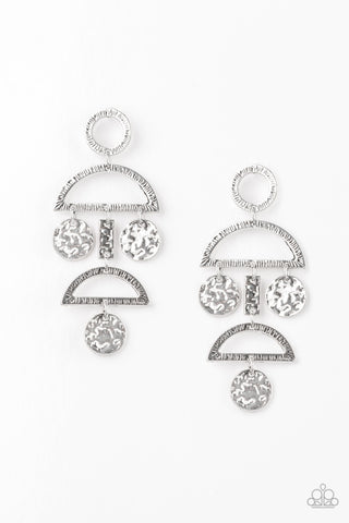 Paparazzi Accessories - Incan Eclipse - Silver Earrings