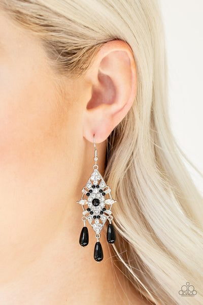 Paparazzi Accessories - Majestic Mood - Black Earrings - JMJ Jewelry Collection