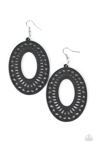 Paparazzi Accessories - Retro Retreat - Black Earrings - JMJ Jewelry Collection