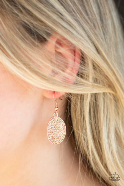 Paparazzi Accessories - All Dazzle - Copper Earrings - JMJ Jewelry Collection