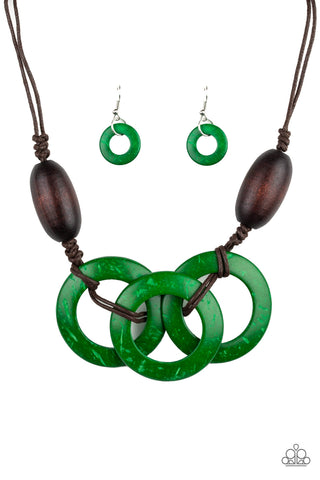 Paparazzi Accessories - Bahama Drama - Green Necklace Set - JMJ Jewelry Collection