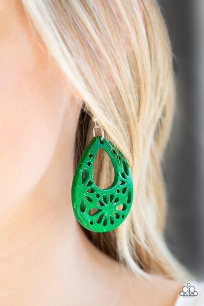 Paparazzi Accessories - Merrily Marooned - Green Earrings - JMJ Jewelry Collection