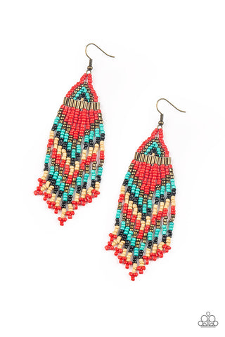 Paparazzi Accessories - Colors Of The Wind - Red Earrings - JMJ Jewelry Collection