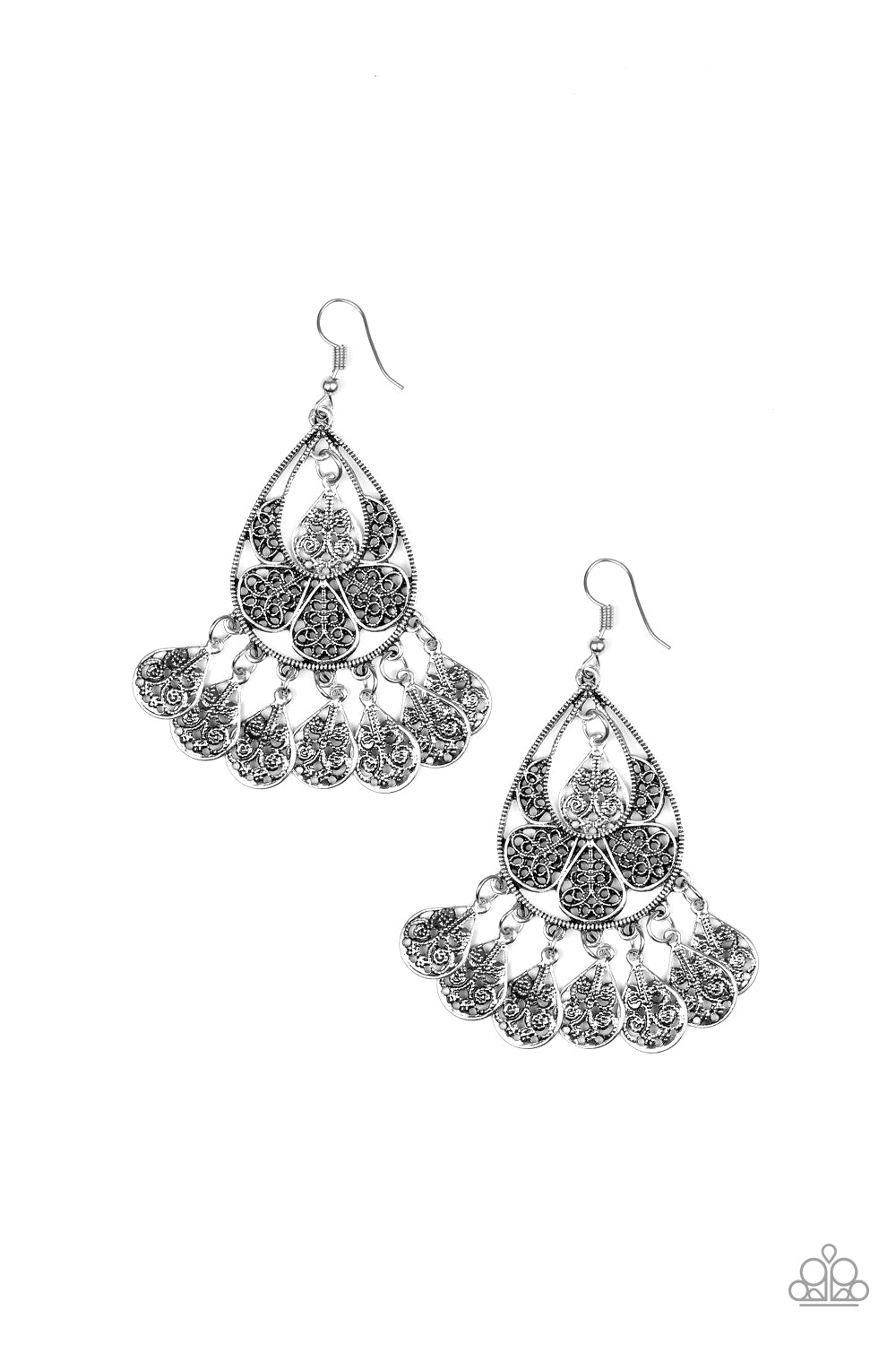 Paparazzi Accessories - Teardrop Tempo - Silver Earrings - JMJ Jewelry Collection