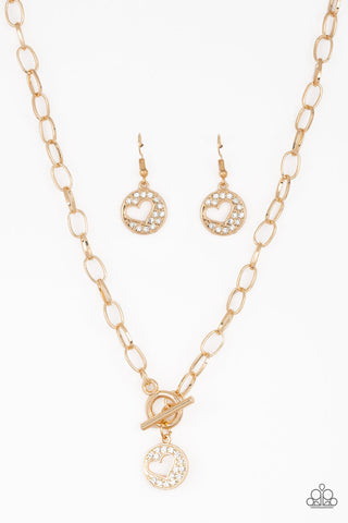 Paparazzi Accessories - Heartbeat Retreat - Gold Necklace Set - JMJ Jewelry Collection