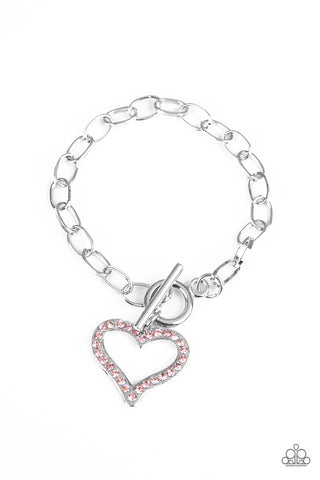 Paparazzi Accessories - March To A Different HEARTBEAT - Pink Bracelets - JMJ Jewelry Collection