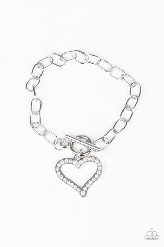 Paparazzi Accessories - March To A Different HEARTBEAT - White Bracelets - JMJ Jewelry Collection