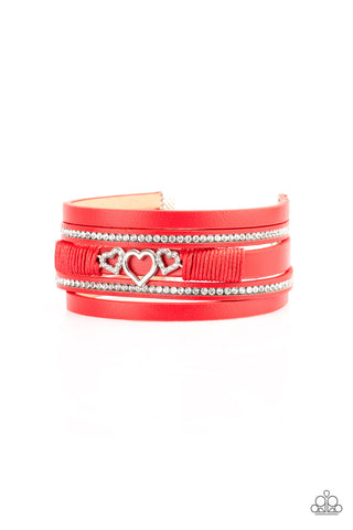 Paparazzi Accessories - Rebel Valentine - Red Bracelets - JMJ Jewelry Collection