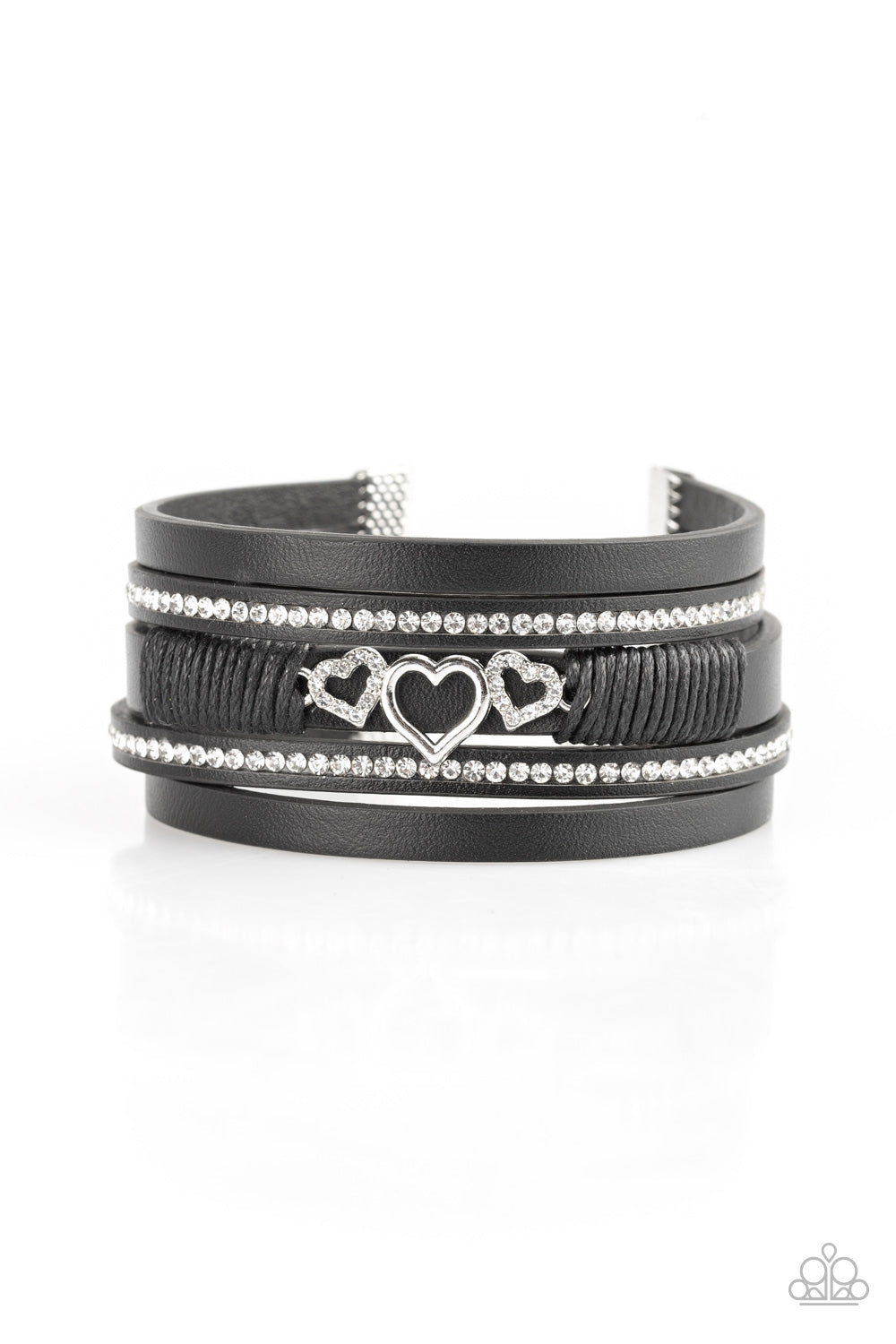 Paparazzi Accessories - Rebel Valentine - Black Bracelet - JMJ Jewelry Collection