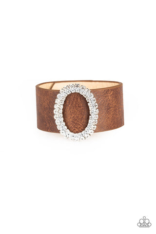 Paparazzi Accessories - Center Stage Starlet - Brown Wrap Bracelet - JMJ Jewelry Collection