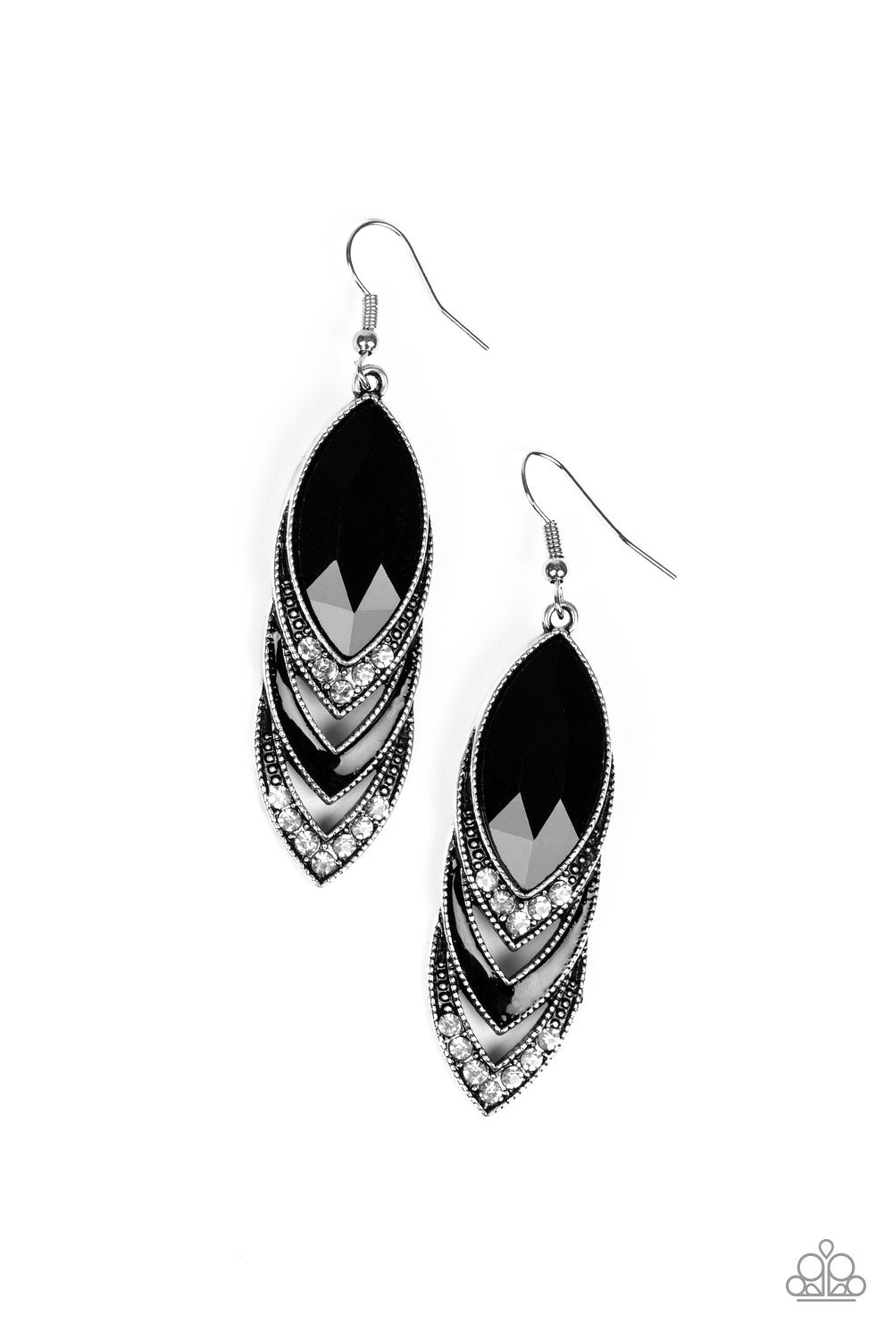 Paparazzi Accessories - High-End Highness - Black Earrings - JMJ Jewelry Collection