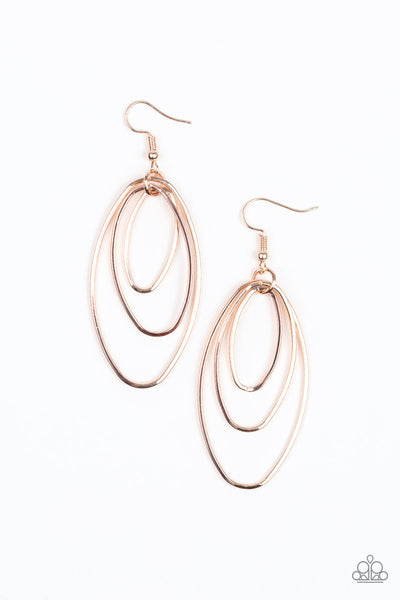 Paparazzi Accessories - All OVAL The Place - Rose Gold Earrings - JMJ Jewelry Collection