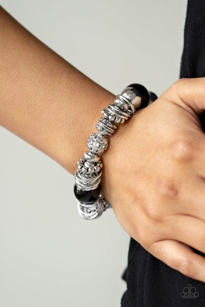Paparazzi Accessories - Uptown Tease - Black Bracelet - JMJ Jewelry Collection
