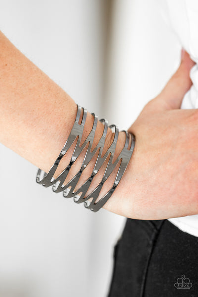 Paparazzi Accessories - Keep Them On Edge - Black Bracelet - JMJ Jewelry Collection