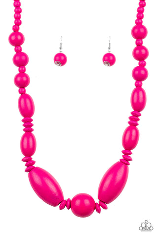 Paparazzi Accessories - Summer Breezin - Pink Necklace Set