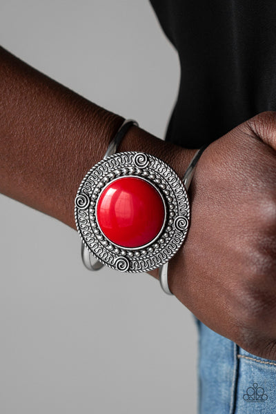 Paparazzi Accessories - Tribal Pop - Red Bracelet - JMJ Jewelry Collection