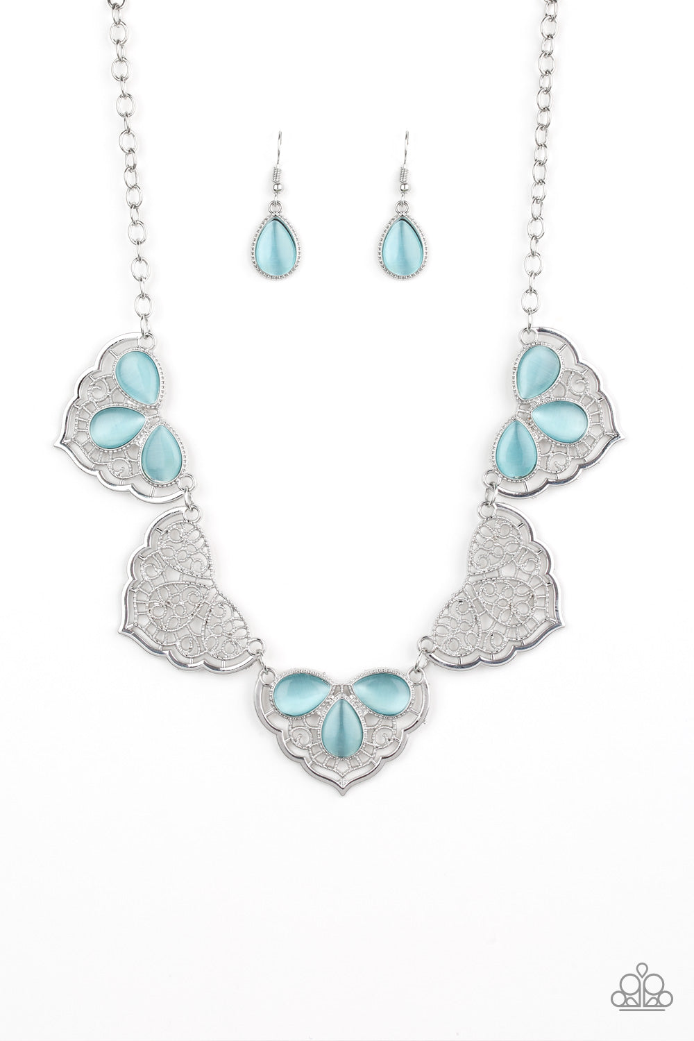 Paparazzi Accessories - East Coast Essence - Blue Necklace Set - JMJ Jewelry Collection