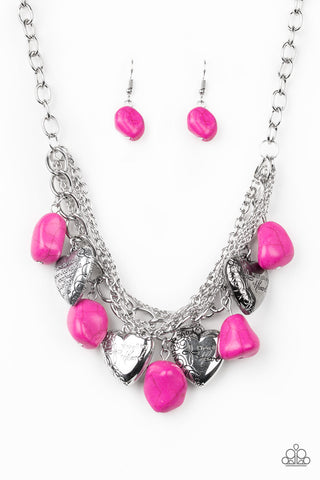 Paparazzi Accessories - Change Of Heart - Pink Necklace Set - JMJ Jewelry Collection