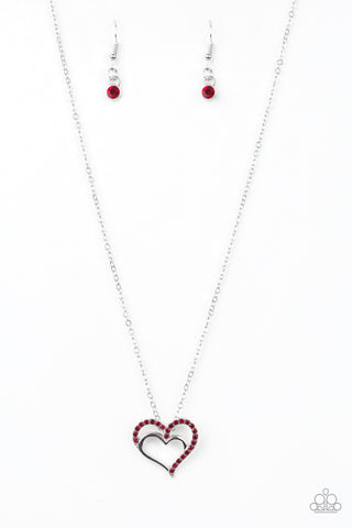 Paparazzi Accessories - Heart To HEARTTHROB - Red Necklace Set - JMJ Jewelry Collection
