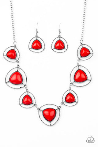 Paparazzi Accessories - Make A Point - Red Necklace Set