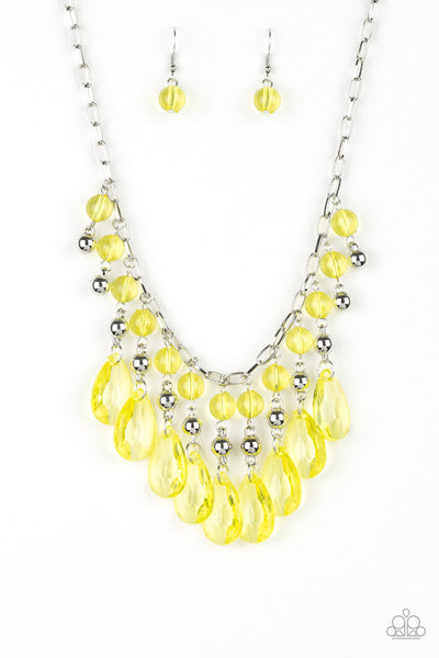 Paparazzi Accessories - Beauty School Drop Out - Yellow Necklace Set - JMJ Jewelry Collection