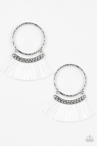 Paparazzi Accessories - This Is Sparta! - White Earrings - JMJ Jewelry Collection