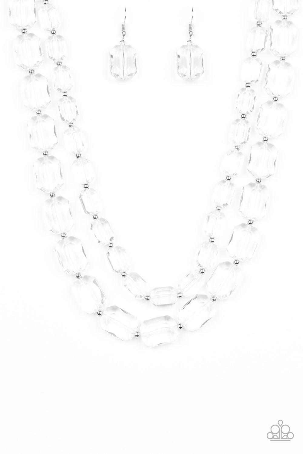 Paparazzi Accessories - Ice Bank - White Necklace Set - JMJ Jewelry Collection