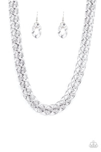Paparazzi Accessories - Put It On Ice - Silver Necklace Set - JMJ Jewelry Collection