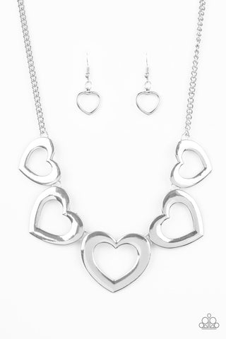 Paparazzi Accessories - Hearty Hearts - Silver Necklace Set