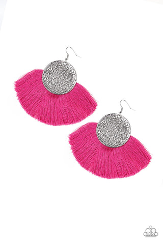 Paparazzi Accessories - Foxtrot Fringe - Pink Earrings - JMJ Jewelry Collection