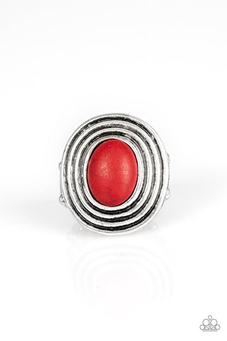 Paparazzi Accessories - Spiraling Sands - Red Ring - JMJ Jewelry Collection