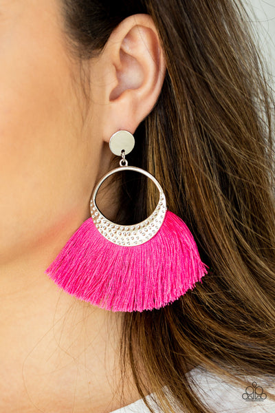 Paparazzi Accessories - Spartan Spirit - Pink Earrings - JMJ Jewelry Collection
