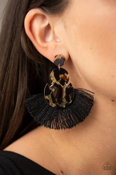 Paparazzi Accessories - One Big Party ANIMAL - Black Earrings - JMJ Jewelry Collection