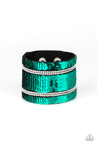 Paparazzi Accessories - MERMAID Service - Green Bracelet - JMJ Jewelry Collection
