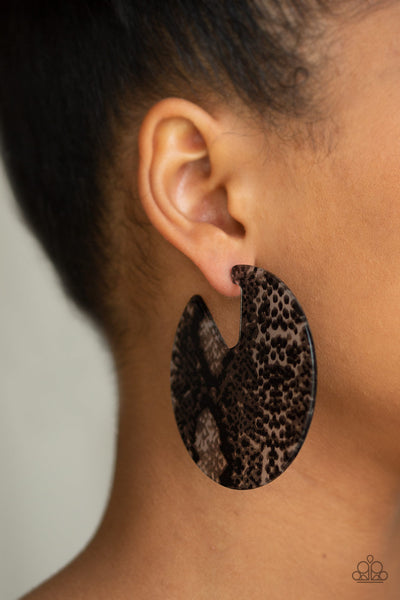 Paparazzi Accessories - Hit Or HISS - Black Earrings - JMJ Jewelry Collection