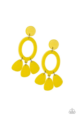 Paparazzi Accessories - Sparkling Shores - Yellow Earrings - JMJ Jewelry Collection